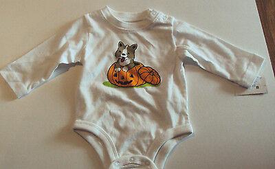 Happy Halloween 9 (Infant White Happy Halloween Onesis Orange Pumpkin & Puppy Size 0-3  3-6 )