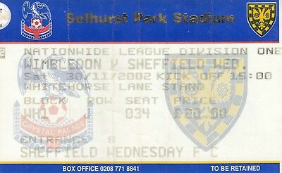 Ticket - Wimbledon v Sheffield Wednesday 30.11.02