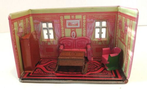 Marx Tin Lithographed Honey Moon Cottage Living Room with 4 Pieces of Furniture