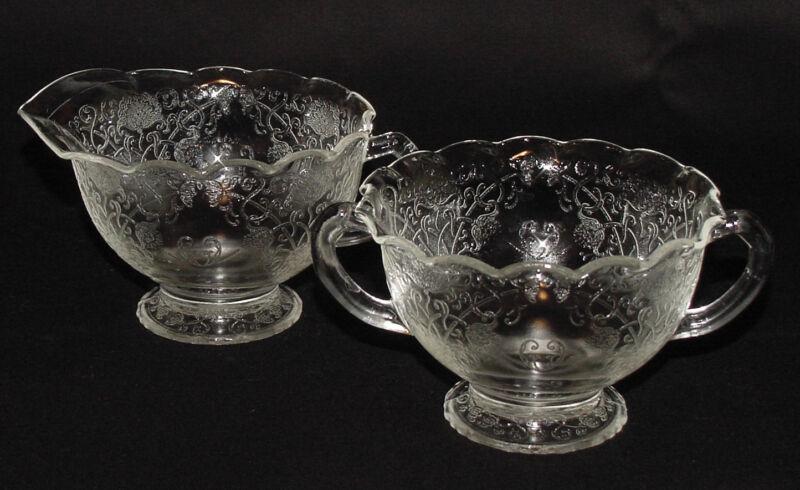 "PERFECT Rarely Seen Vintage Crystal ""FLORENTINE #1"" Creamer/Sugar Bowl!!"