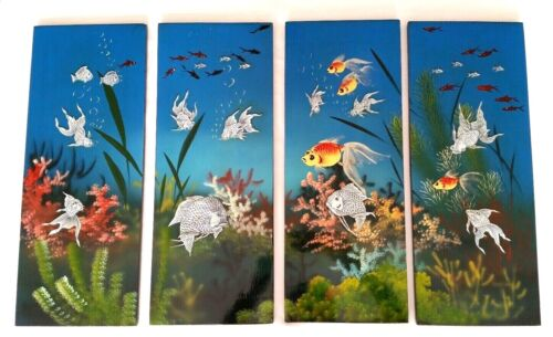 Vintage Asian Japanese Black Lacquer Koi Fish Blue Wall Panels Mother of Pearl