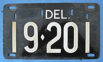 Delaware old porcelain license plate nice with original finish