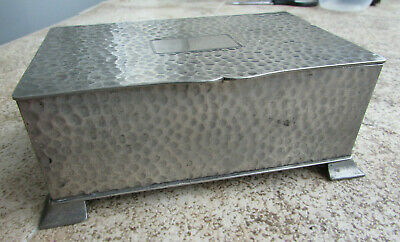 AE Poston Hammered Pewter Art Deco Cigarette Box -Hinged Lid/Cartouche/Feet -VGC