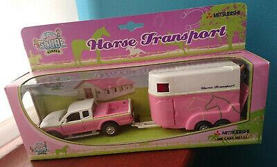 Kids Globe Horse Transport Die Cast Metal Mitsubishi pick up pink pickup...