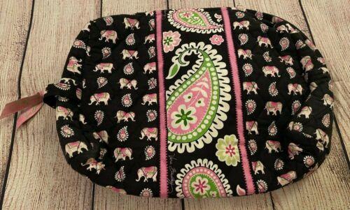 Vera Bradley Large Cosmetic Bag in Pink Elephants - Make-Up Case - Black Paisley