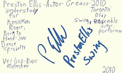 Kenickie Grease (Preston Ellis Actor Kenickie in Grease Play Autographed Signed Index)
