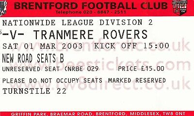 Ticket - Brentford v Tranmere Rovers 01.03.03