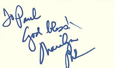 Marilyn McCoo Actress Singer 5th Dimension Music Autographed Signed Index Card Index Card Dimensions