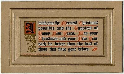 ANTIQUE NEW YEAR Postcard~AM Davis Arts & Crafts ILLUMINATED ORNATE TEXT~GOLD - New Year Crafts
