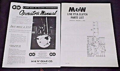Mw Hand Clutch Live Pto Powr Ih Farmall M Md Mv Mvd Owners Parts List Manuals