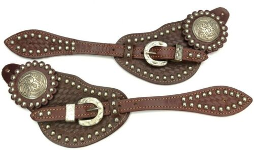 Spur Straps Matched Pair Tooled & Studded Leather Western Fancy 6032-LQ