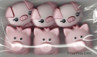 VAT Free Dress It Up Pink Pig Pen 6 Buttons 2cm x 2cm Craft Sew Knit New 10415 - Pig Pen Costume