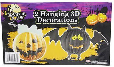 2 Hanging Concertina 3D Halloween Party Decoration ~ Pumpkin And Bat
