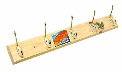(6 Hook Pine Coat Rack Door Or Wall Mount Hat Rack Wooden Multi Hook Coat Hanger)