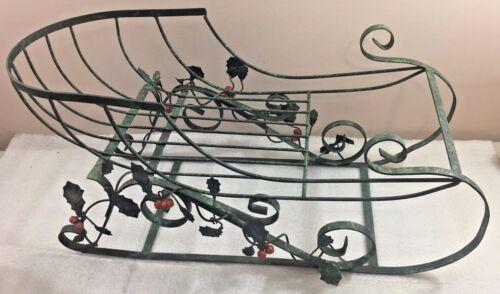 "Christmas Sleigh metal w/Holly & Berries Details 23""L x 12""H x 9""W home decor"