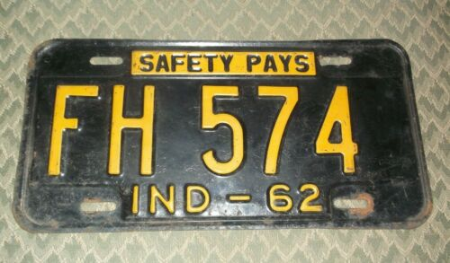 """Vintage 1962 Indiana License Plate """"Safety Pays"""""""