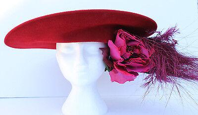 PHILIP TREACY LONDON RED WOOL FELT WIDE BRIM HAT FEATHERS FLOWERS RHINESTONES