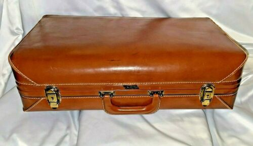 """Lite-Flite Cowan Brown Leather Briefcase Luggage Carry On Suitcase 21""""x12""""x 6"""""""