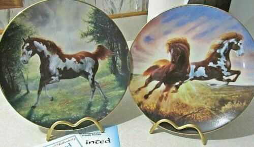 2 Horse Collector Plates -Unbridled Spirit- Painted Sunrise & Surprise DeHaan