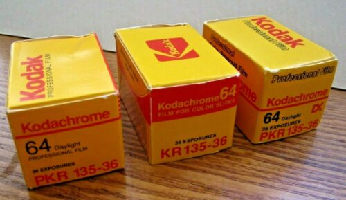 Vintage KODAK KODACHROME - 3 Rolls - Expired New in Box - PKR KR - 135-36 -64iso