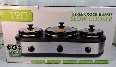 1 4QT / 2 1.5QT Slow Cooker Buffet Server Triple Heat Control Crock Pot Warmer