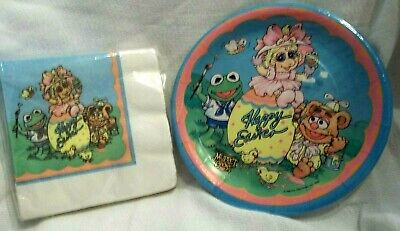 HAPPY EASTER MUPPET BABIES  DESSERT PLATES AND NAPKINS SEALED-1980's - Easter Plates And Napkins