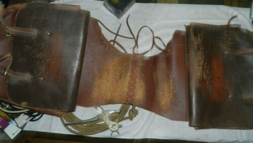 """Vintage Leather  Saddle Bags Western Motorcycle Travel well used 45"""" length"""