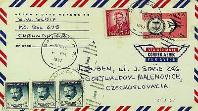 """PANAMA CANAL ZONE 1967 FAMOUS PEOPLE SEAL 5v ON A/M COVER TO CZECH W/ """"1"""" CACHET"""
