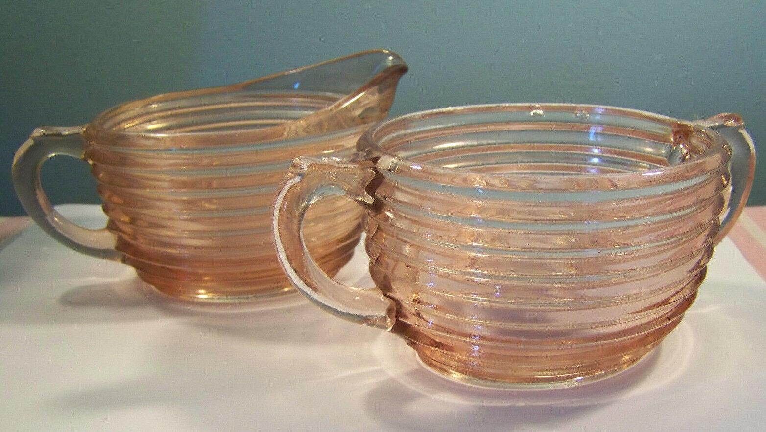 Anchor Hocking Pink Glass Manhattan Creamer and Sugar Bowl