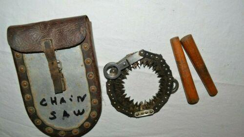 Antique-Vtg KLING TORSHALLA Survival HAND CHAINSAW w/Pouch SWEDEN SAW TOOL