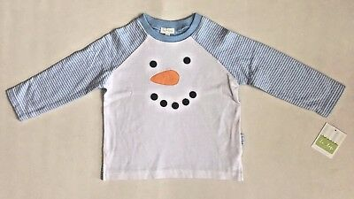 NEW Le Top Baby Boys Shirt Holiday Christmas Snowman Blue/White Sz 12M, 24M, 2T