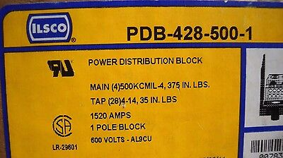 Ilsco PDB-428-500-1 1520 amp 600v power distribution block w/ clear cover, NIB
