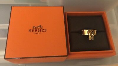 Hermes 18K Yellow Gold Kelly Lock Charm Ring Size 5.75 in Box