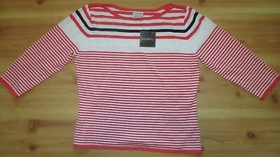 NWT WOMEN'S GEORGE ORANGE & WHITE STRIPED BOATNECK 3/4 SLEEVE SWEATER XL 16/18