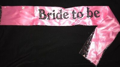 women's NEW NWOT PINK BRIDE TO BE SASH sparkles halloween costume accessory NICE (Bride To Be Halloween Costume)