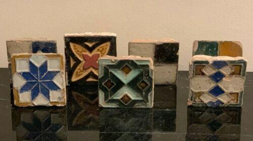 Old Geometric Ceramic Tiles Set of 7