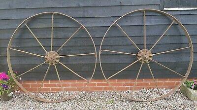 Pair Large Wrought Iron Cart Wheels Old Bamford Iron Wheels Garden Feature 52