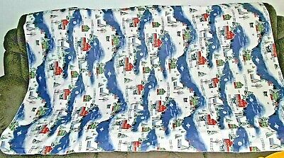 """Christmas Vinyl Tablecloth/Flannel Backing 52""""X 70""""-Outdoor Snow Scene-rectangle"""