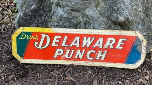 Vintage Antique Embossed Drink Delaware Punch Metal Sign Original Store 1940