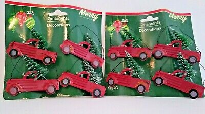 """Set of (16) Christmas Ornaments - Red Truck with Bottlebrush Tree 2.75"""" x 2"""""""