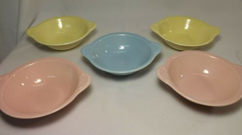 5 TST Lu-Ray Pastels Tab Handled Lug Soup Cereal Bowls Taylor Smith & Taylor