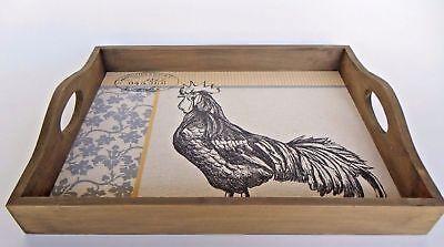 La Vie Parisienne Wood Serving Tray Set of 2  Rooster Canvas Image Black/Gray ()