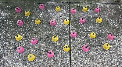 25 Vintage Blow Mold Tulip Cup Flower Party Lites Camping Rv Patio Light String