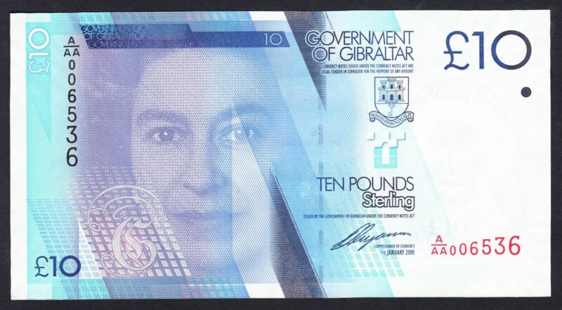 Gibraltar 10 Pounds 2010 UNC P. 36,  Banknote, Uncirculated
