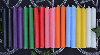 18 Witches Spell Candles ~ 10cm 9 Solid Colours ~ Plus Info Sheet  Ritual Altar