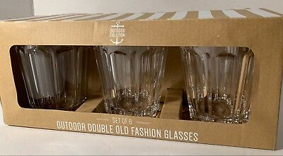 NEW Outdoor Collection 6 PC Melamine DOUBLE OLD FASHIONED Glasses CLEAR ()