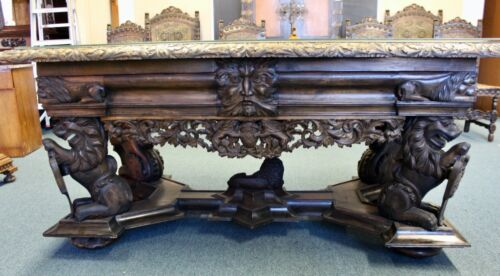 SUPER  CARVED ANTIQUE WALNUT CENTER TABLE 19TH CENTURY