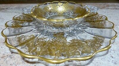 VINTAGE - GLASS - 2 PIECE - CHIP AND DIP SET - CLEAR WITH GOLD FLOWERS AND TRIM 2 Piece Dip Set