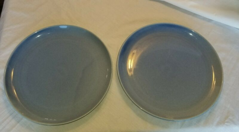 "Set of 2- ONEIDA by Russel Wright 11-1/2"" Monitoga  Blue DINNER PLATES"