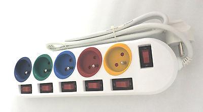 Steckdosenleiste mit 5 Steckpl., einzeln schaltbar, 1,5 m oder 3 m Anschluß  5er